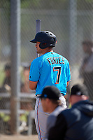 Miami Marlins Nick Fortes (7) during a Minor League Spring Training Intrasquad game on March 28, 2019 at the Roger Dean Stadium Complex in Jupiter, Florida.  (Mike Janes/Four Seam Images)