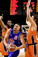 Taane Samuel of the Wellington Saints during the round two NBL match between the Wellington Saints and the Southland Sharks at TSB Bank Arena, Wellington, New Zealand on Friday 7 May 2021.<br /> Photo by Masanori Udagawa. <br /> www.photowellington.photoshelter.com