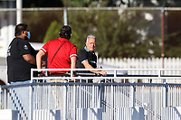 RICHMOND, VA - SEPTEMBER 30: Head coach Dave Sarachan of North Carolina FC watches warmups from the concourse before a game between North Carolina FC and New York Red Bulls II at City Stadium on September 30, 2020 in Richmond, Virginia.