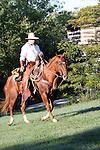 A cowboy riding horseback near an old log cabin