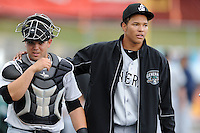 Jackson Generals starting pitcher Taijuan Walker #44 talks with his catcher Ralph Henriquez #9 before a game against the Tennessee Smokies at Smokies Park on May 14, 2012 in Kodak, Tennessee. The Generals defeated the Smokies 3-1 in game two of a double header. (Tony Farlow/Four Seam Images).