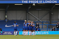 2nd May 2021; Kingsmeadow, London, England;  Pernille Harder celebrates scoring Chelsea's 3rd goal during the UEFA Womens Champions League Semi Final game between Chelsea and Bayern Munich at Kingsmeadow