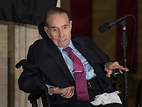 Former United States Senator Bob Dole (Republican of Kansas) makes remarks accepting the Congressional Gold Medal at a ceremony in his honor in the Rotunda of the US Capitol on Wednesday, January 17, 2017.  Congress commissioned gold medals as its highest expression of national appreciation for distinguished achievements and contributions.  Dole served in Congress from 1961 through 1996, was the Senate GOP leader from 1985 through 1996, and was the 1996 Republican Party nominee for President of the United States.<br /> Credit: Ron Sachs / CNP /MediaPunch