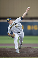 Michigan Wolverines pitcher Oliver Jaskie (36) delivers a pitch to the plate against the Indiana Hoosiers during the NCAA baseball game on April 21, 2017 at Ray Fisher Stadium in Ann Arbor, Michigan. Indiana defeated Michigan 1-0. (Andrew Woolley/Four Seam Images)