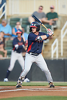 Greg Cullen (18) of the Rome Braves at bat against the Kannapolis Intimidators at Kannapolis Intimidators Stadium on July 3, 2019 in Kannapolis, North Carolina.  The Braves defeated the Intimidators 13-11, (Brian Westerholt/Four Seam Images)