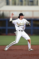 Vanderbilt Commodores infielder Dansby Swanson (7) throws to first during a game against the Indiana State Sycamores on February 20, 2015 at Charlotte Sports Park in Port Charlotte, Florida.  Vanderbilt defeated Indiana State 3-2.  (Mike Janes/Four Seam Images)