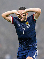 9th October 2021; Hampden Park, Glasgow, Scotland; FIFA World Cup football qualification, Scotland versus Israel;  John McGinn celebrates as he scores for 1-1 in the 29th minute