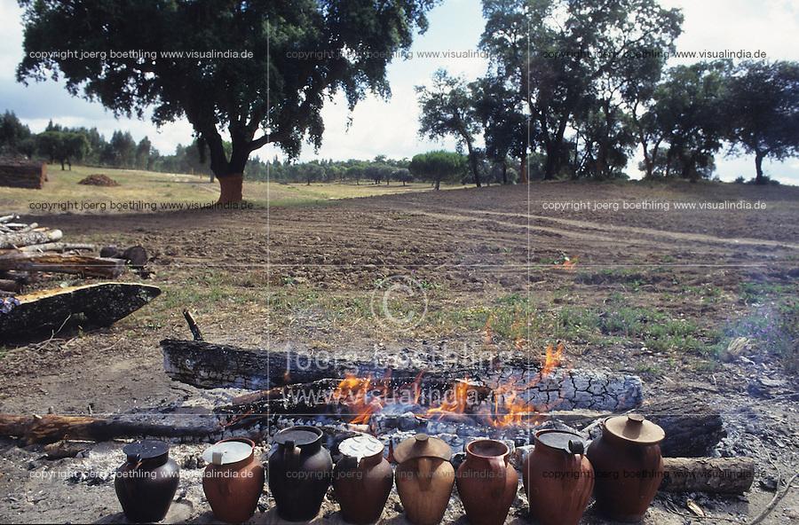 PORTUGAL, Alentejo, cork forest, women cook food for the forest worker on open fire / PORTUGAL, Alentejo, Korkeichenwald, Frauen kochen Essen in Tonkrugen auf Lagerfeuer fuer die Waldarbeiter