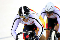 Southlands Steph McKenzie and Natasha Hansen at the BikeNZ Elite & U19 Track National Championships, Avantidrome, Home of Cycling, Cambridge, New Zealand, Sunday, March 16, 2014. Credit: Dianne Manson