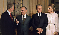 President Jimmy Carter with King Hussein of Jordan, the Shah of Iran, and Shahbanou of Iran, 31 December 1977.