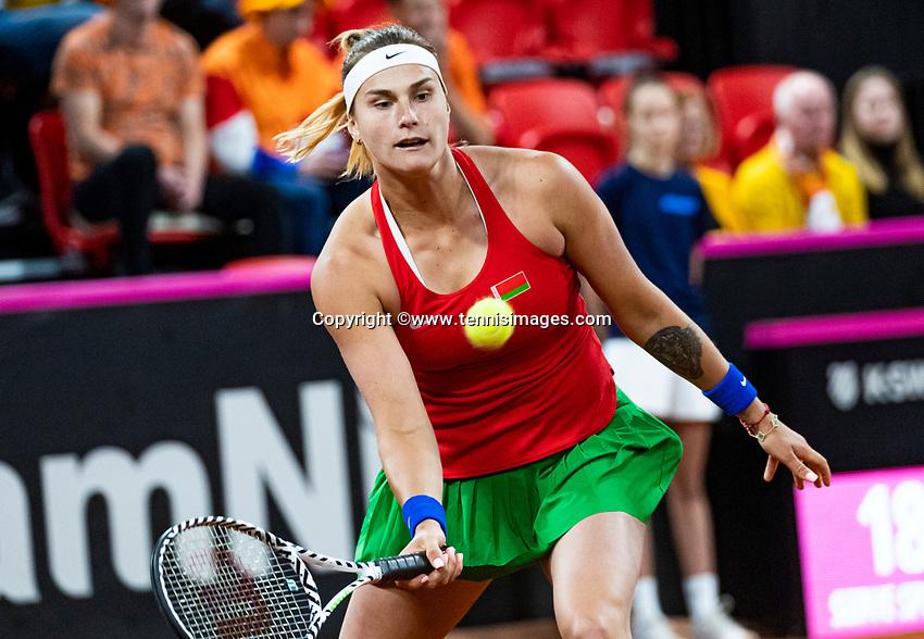 The Hague, The Netherlands, Februari 7, 2020,    Sportcampus, FedCup  Netherlands -  Balarus, Seccond match on friday:  Aryna Sabalenka (SRB)<br /> Photo: Tennisimages/Henk Koster