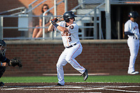 Myles Straw (3) of the Buies Creek Astros at bat against the Wilmington Blue Rocks at Jim Perry Stadium on April 29, 2017 in Buies Creek, North Carolina.  The Astros defeated the Blue Rocks 3-0.  (Brian Westerholt/Four Seam Images)