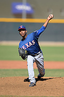 Texas Rangers pitcher Roberto Liriano (46) during an Instructional League game against the Cincinnati Reds on October 3, 2014 at Surprise Stadium Training Complex in Surprise, Arizona.  (Mike Janes/Four Seam Images)