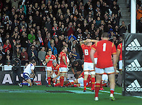 Fans celebrate a Geroge Moala try during the Steinlager Series rugby union match between the New Zealand All Blacks and Wales at Forsyth Barr Stadium, Wellington, New Zealand on Saturday, 25 June 2016. Photo: Dave Lintott / lintottphoto.co.nz