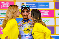 LA UNION - COLOMBIA, 16-02-2019: Julian ALAPHILIPPE (FRA), Deceuninck - Quick Step Floors, celebra como líder de los puntos después de la la quinta etapa del Tour Colombia 2.1 2019 con un recorrido de 176.8 Km, que se corrió con salida y llegada en La Union, Antioquia. / Julian ALAPHILIPPE (FRA), Deceuninck - Quick Step Floors, celebrates as points leader after of the fifth stage of 176.8 km of Tour Colombia 2.1 2019 that ran with start and arrival in La Union, Antioquia.  Photo: VizzorImage / Anderson Bonilla / Cont