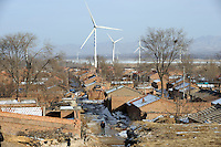 A chinese village near The Beijing Guangting Wind Farm operated by Beijing Energy Investment Holding Co.,Ltd, at Huailai county in Hebei province, 70km northwest of downtown Beijing city..