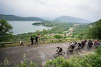 peloton led by Team Mitchelton-Scott up the Col de la Chambotte<br /> <br /> Stage 6: Saint-Vulbas to Saint-Michel-de-Maurienne (228km)<br /> 71st Critérium du Dauphiné 2019 (2.UWT)<br /> <br /> ©kramon