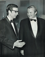 Standing together in Toronto last night at the annual dinner of Canadian Press news service, Quebec Premier Robert Bourassa (left) talks with Ontario Premier William Davis. Bourassa, guest speaker at the dinner, said Quebec is a valuable ally for English<br /> <br /> 1971<br /> <br /> PHOTO :  Bob Olsen - Toronto Star Archives - AQP