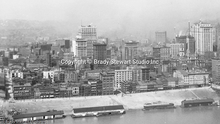 Pittsburgh PA - View of the city of Pittsburgh from Mt Washington.  View of the Pittsburgh skyline, featuring the Henry Oliver, Arrott, and Frick buildings.  View of water street and the docks on the Monongahela Wharf