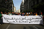 Algerian protesters march in an anti-government demonstration in the capital Algiers on January 17, 2020. Photo by Taher Boussoualim