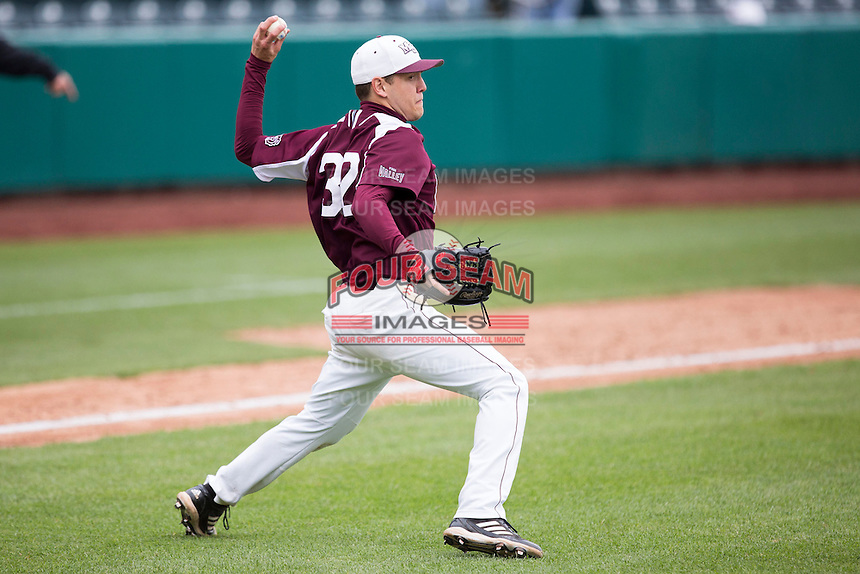 Matt Hall #32 of the Missouri State Bears throws to first base during a game against the Wichita State Shockers at Hammons Field on May 5, 2013 in Springfield, Missouri. (David Welker/Four Seam Images)