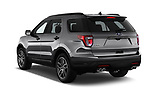 Car pictures of rear three quarter view of a 2019 Ford Explorer Sport 5 Door SUV angular rear