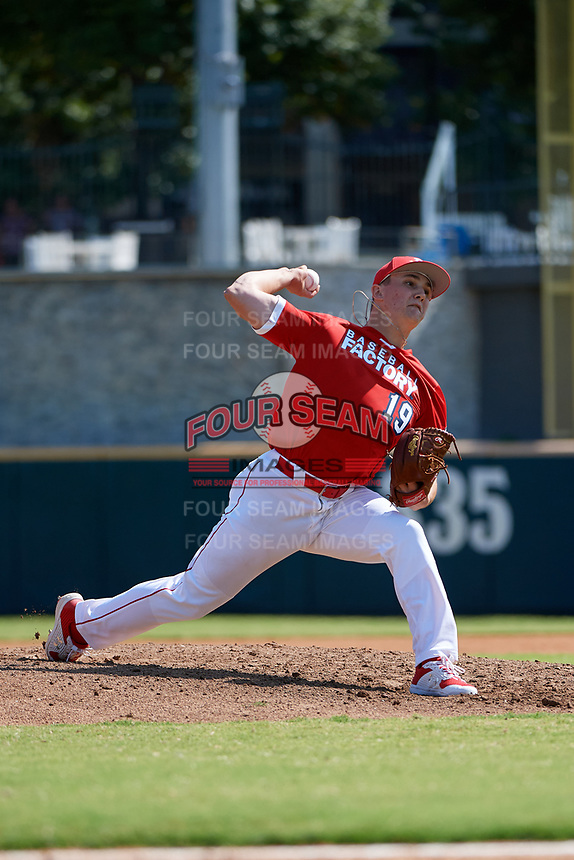 Pitcher Calvin Ziegler (19) during the Baseball Factory All-Star Classic at Dr. Pepper Ballpark on October 4, 2020 in Frisco, Texas.  Pitcher Calvin Ziegler (19), a resident of Heidelberg, Ontario, Canada, attends St. Mary's High School.  (Mike Augustin/Four Seam Images)
