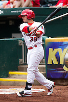Alan Ahmady (38) of the Springfield Cardinals on deck during a game against the Arkansas Travelers on May 10, 2011 at Hammons Field in Springfield, Missouri.  Photo By David Welker/Four Seam Images.