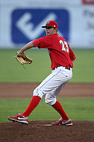 Batavia Muckdogs pitcher Matt North (23) during a game vs. the State College Spikes at Dwyer Stadium in Batavia, New York June 26, 2010.   State College defeated Batavia 9-8.  Photo By Mike Janes/Four Seam Images