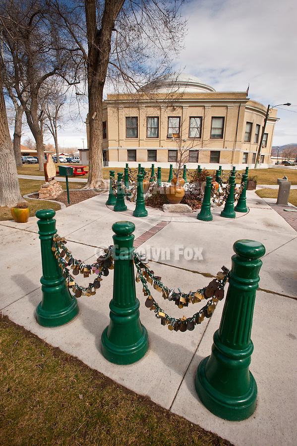 Lovers Lock plaza by the Pershing County Courthouse, Lovelock, Nev.