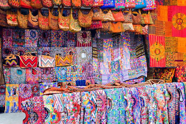 Colorful handmade Mayan  textiles  for sale at market in Santiago Atitlan, Guatemala