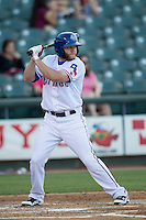 Round Rock Express third baseman Tyler Pastornicky (7) at bat during the Pacific Coast League baseball game against the Oklahoma City Dodgers on June 9, 2015 at the Dell Diamond in Round Rock, Texas. The Dodgers defeated the Express 6-3. (Andrew Woolley/Four Seam Images)