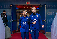 HARRISON, NJ - MARCH 08: Mallory Pugh #2 and Lindsey Horan #9 of the United States enter the field during a game between Spain and USWNT at Red Bull Arena on March 08, 2020 in Harrison, New Jersey.