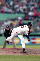 Boston Red Sox pitcher Pedro Martinez during a game against the New York Yankees on May 30, 2001 at Fenway Park in Boston, Massachusetts.  Boston defeated New York 3-0.  (MJA/Four Seam Images)