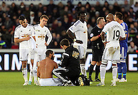 Swansea, UK Saturday 17 January 2015<br /> Swansea team captain Ashley Williams is receiving treatment from team physio Ritchie Buchanan<br /> Barclays Premier League, Swansea City FC v Chelsea at the Liberty Stadium, south Wales, UK