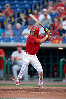 Clearwater Threshers center fielder Mark Laird (6) at bat during a game against the Palm Beach Cardinals on April 14, 2017 at Spectrum Field in Clearwater, Florida.  Clearwater defeated Palm Beach 6-2.  (Mike Janes/Four Seam Images)