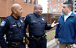 WATERBURY CT. - 15 January 2020-011521SV11-From left, Officer Damian Blocker, Officer Michael Tripp, and Sgt. Steve Pedbereznak of the youth division at the police station in Waterbury Friday.<br /> Steven Valenti Republican-American