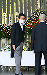 August 15, 2020, Tokyo, Japan - Japanese Prime Minister Shinzo Abe lays a flower bouquet on an altar to offer for war victims at the Chitorigafuchi National Cemetery in Tokyo on Saturday, August 15, 2020. Japan marked the 75th anniversary of its surrender of World War II.        (Photo by Yoshio Tsunoda/AFLO)