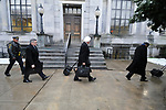 Bill Cosby's legal defense team, including attorney's Tom Mesereau and Kathleen Bliss, arrive at the Courthouse in Norristown, PA on Monday, ahead of the jury selection for the retrail in the sexual assault case against the 80 year old entertainer/comedian. (Bastiaan Slabbers/for WHYY)