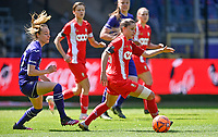 Tessa Wullaert (27) of Anderlecht pictured defending on Constance Brackman (20) of Standard  during a female soccer game between RSC Anderlecht Dames and Standard Femina De Liege on the third matchday of play off 1 of the 2020 - 2021 season of Belgian Womens Super League , saturday 24 th of April 2021  in Brussels , Belgium . PHOTO SPORTPIX.BE | SPP | DAVID CATRY