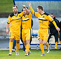 Dumbarton's Mark Gilhaney (centre) celebrates after he scores Dumbarton's goal    ...