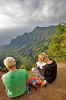 Kalalau Valley with artists drawing scene. Koke'e State Park. Waimea Canyon. Kauai, Hawaii
