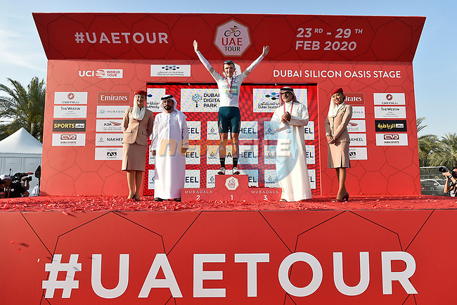 Veljko Stojnic wears the White Jersey at the end of Stage 1 of the UAE Tour 2020 running 148km from The Pointe to Dubai Silicon Oasis, Dubai. 23rd February 2020.<br /> Picture: LaPresse/Fabio Ferrari | Cyclefile<br /> <br /> All photos usage must carry mandatory copyright credit (© Cyclefile | LaPresse/Fabio Ferrari)
