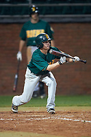 Siena Saints shortstop Tyler Martis (1) squares to bunt during a game against the Stetson Hatters on February 23, 2016 at Melching Field at Conrad Park in DeLand, Florida.  Stetson defeated Siena 5-3.  (Mike Janes/Four Seam Images)
