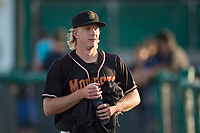Modesto Nuts starting pitcher Darren McCaughan (16) before a California League game against the Lake Elsinore Storm at John Thurman Field on May 11, 2018 in Modesto, California. Modesto defeated Lake Elsinore 3-1. (Zachary Lucy/Four Seam Images)