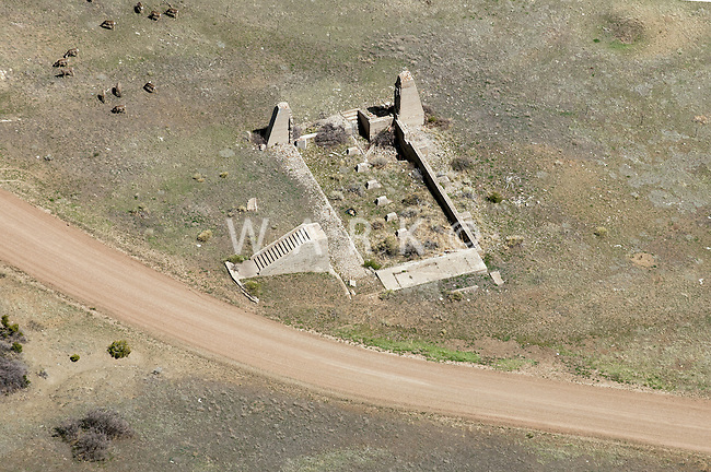 Foundation of old west building near La Veta, Colorado