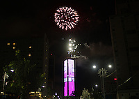 BOGOTA -COLOMBIA , 1- JANUARY-2017. Fireworks at colpatria tower welcoming 2017. Photo: VizzorImage / Felipe Caicedo / Staff