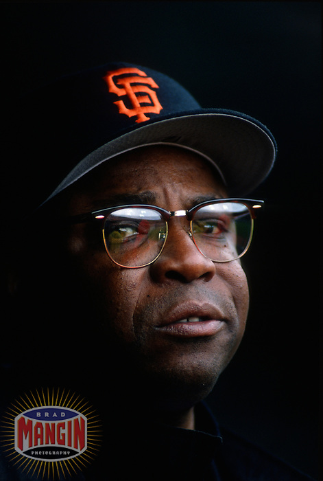 SAN FRANCISCO, CA:  Manager Dusty Baker of the San Francisco Giants stands in the dugout during a game at Candlestick Park in San Francisco, California on April 23, 1994. (Photo by Brad Mangin)