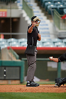 Umpire Dillon Wilson strike call during a Florida State League game between the Jupiter Hammerheads and Florida Fire Frogs on April 8, 2019 at Osceola County Stadium in Kissimmee, Florida.  Florida defeated Jupiter 7-6 in ten innings.  (Mike Janes/Four Seam Images)