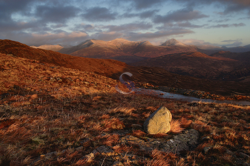 The Mamores at dawn from Stob Mhic Mhartuin above Glencoe, Highland<br /> <br /> Copyright www.scottishhorizons.co.uk/Keith Fergus 2011 All Rights Reserved